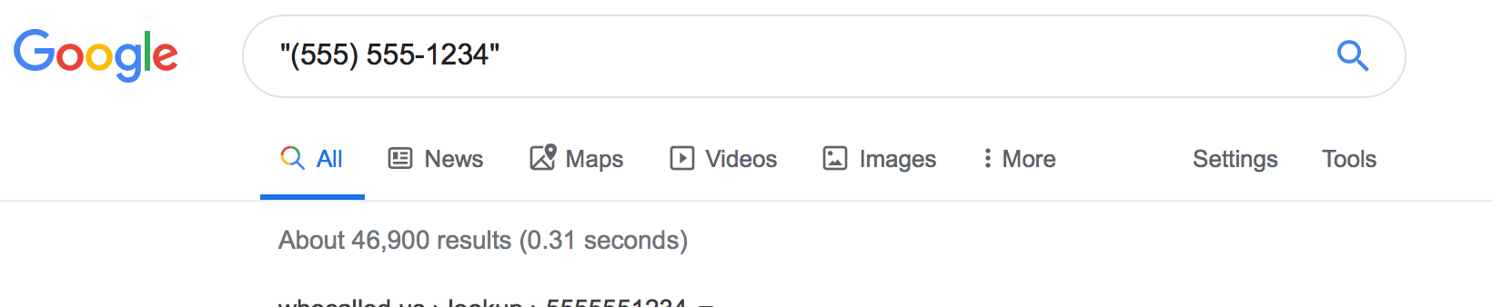 Searching for an Exact Phone Number with Google