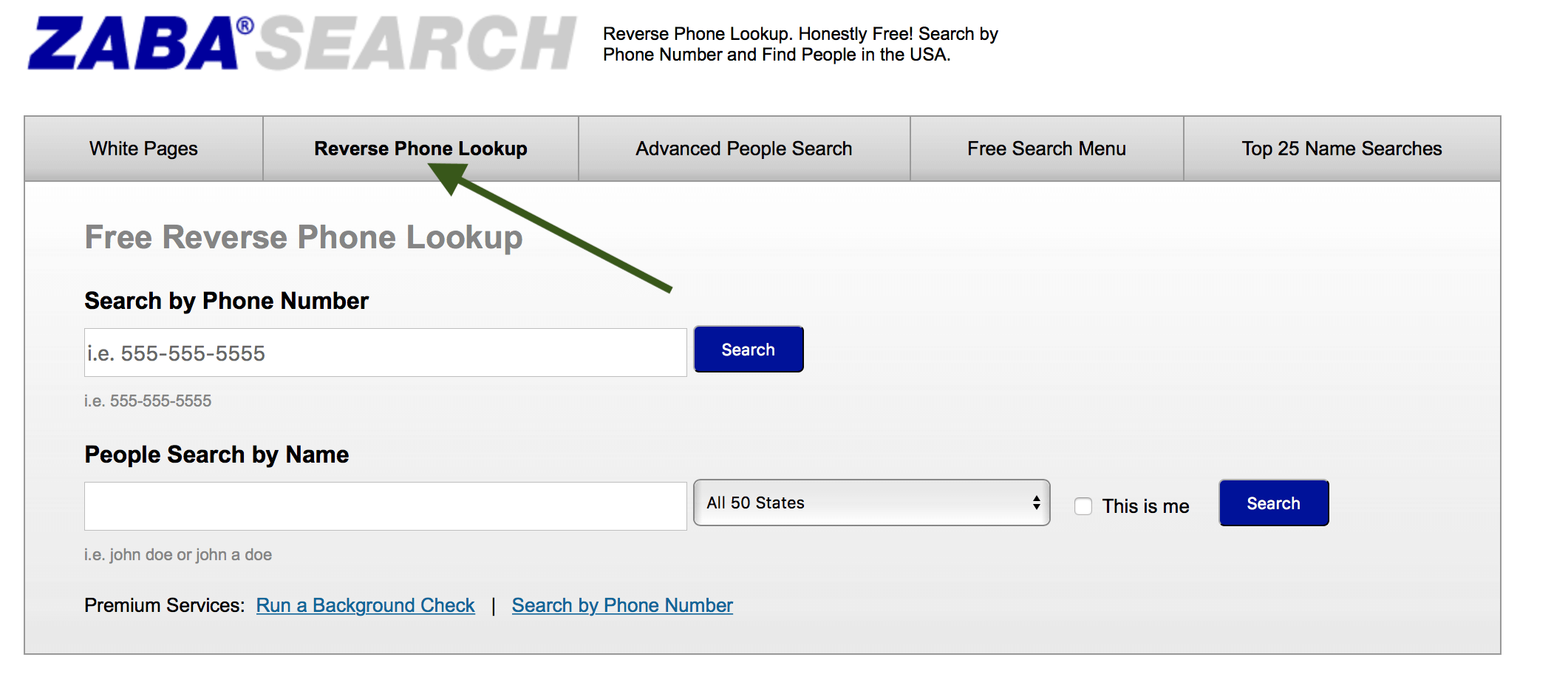 ZabaSearch Free Reverse Phone Number Lookup
