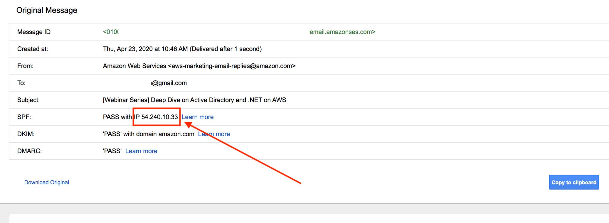 IP of the sender